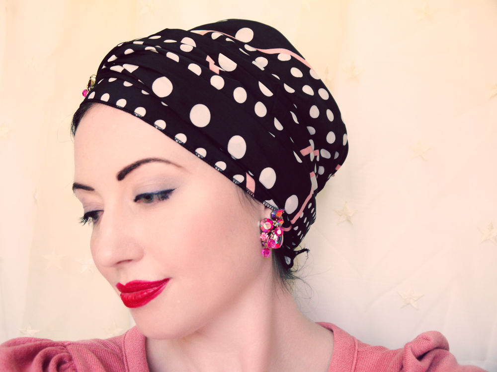 Profile view pill box hat scarf tie style web