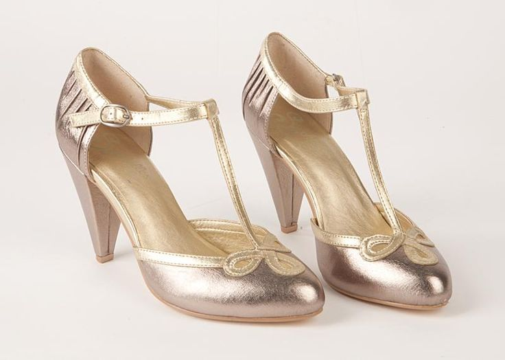 1930s style tbar wedding shoes