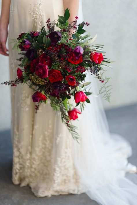 berry cascading bridal bouquet