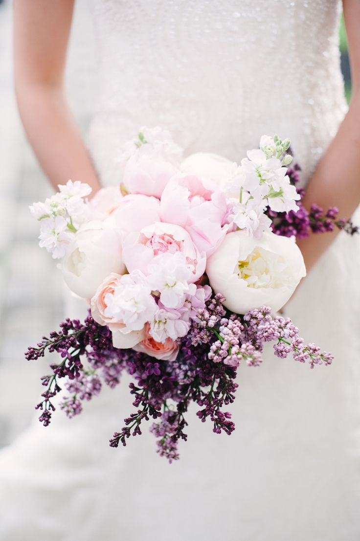 purple peonies and lilac vintage wedding bouquet