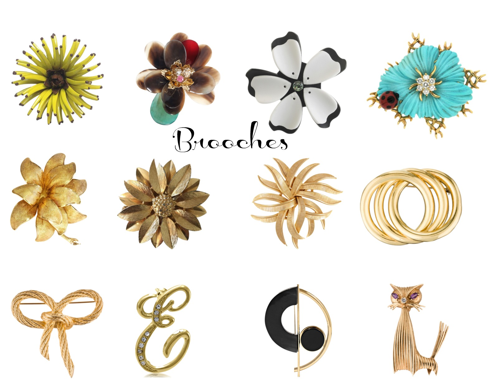 corporate vintage style brooches